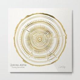 Quaking Aspen – Gold Tree Rings Metal Print