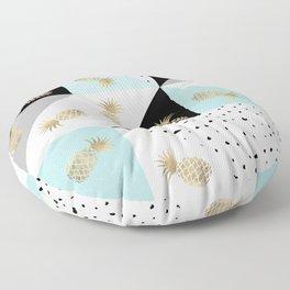 Pastel color block watercolor dots faux gold pineapple Floor Pillow