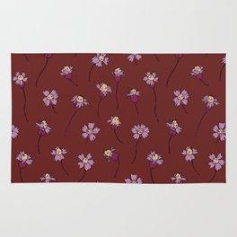 Dainty Wildflowers - Burgundy & Lilac Rug