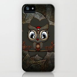 Cute little steampunk owl with floral elements iPhone Case