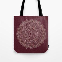 Rose Gold Marble Mandala Burgundy Textured Tote Bag