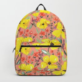 Yellow meadow flowers pattern Backpack