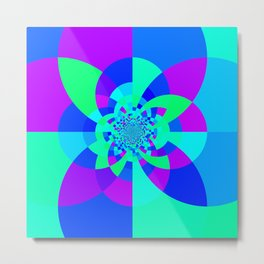 Orchid Aqua Turquoise Kaleidoscope Metal Print