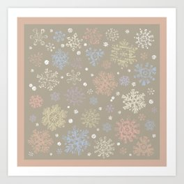 Christmas Snowflakes Lace Art Print
