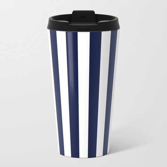 Stripe Vertical Navy Blue Metal Travel Mug