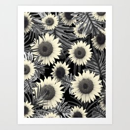 Tropical Sunflower Jungle Night Leaves Pattern #2 #tropical #decor #art #society6 Art Print