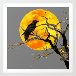 FULL MOON & RAVEN ON DEAD TREE Art Print