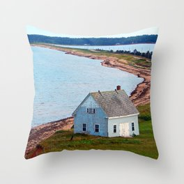 Beach and Causeway, seen from Above Throw Pillow