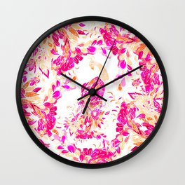 Red pink coral hand drawn floral peacock lustration pattern Wall Clock