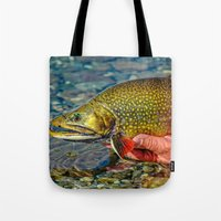 trout Tote Bags featuring Trout by Edward M. Fielding