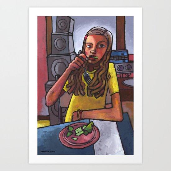Rachel Eating Salad by Tom's Speakers Art Print