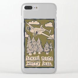 Travel More Worry Less // Airplane Wanderlust Mountains Clear iPhone Case