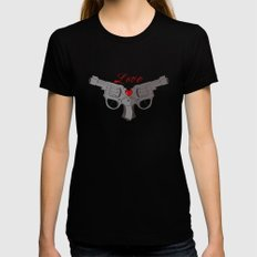 Love Guns Black Womens Fitted Tee SMALL