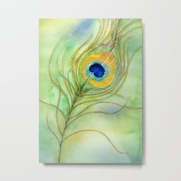 Abstract Peacock Feather Watercolor Metal Print