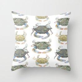 Blue Crabs Throw Pillow