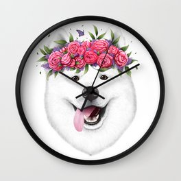 Samoyed with flowers Wall Clock