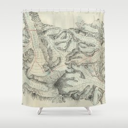 Vintage Map of Mount Everest (1921) Shower Curtain