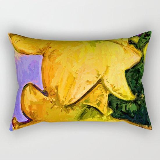 Gold Lilies in a Terracotta Pot Rectangular Pillow