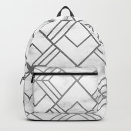 Geometrical white gray faux silver marble Backpack