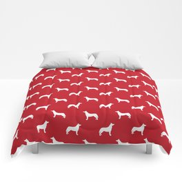 Husky dog pattern simple minimal basic dog silhouette huskies dog breed red and white Comforters