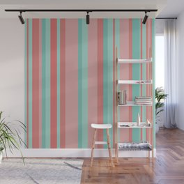 Vertical Stripes in Aqua and Coral Pink. Minimalist Striped Color Block Design in Cheerful Colors Wall Mural