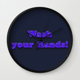 Wash your Hands BLUE Wall Clock