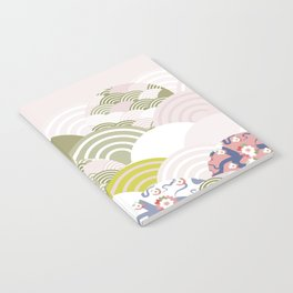 scales simple Nature background with japanese sakura flower, rosy pink Cherry, wave circle pattern Notebook