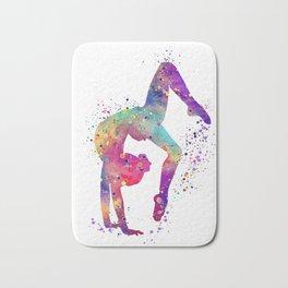 Girl Gymnastics Tumbling Watercolor Bath Mat