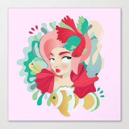 Little pink Mermaid with fish Canvas Print