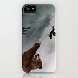 The Trickster - Raven & Grizzly Bear Art Print iPhone Case