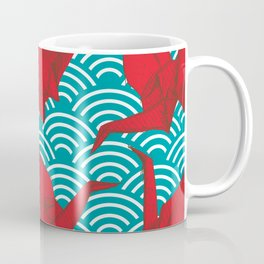 Origami red paper cranes sketch. burgundy maroon line Nature oriental Coffee Mug