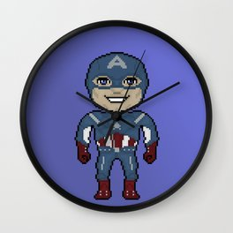 Pixelated Heroes Capt. America Super Hero Wall Clock