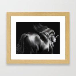 Black Horse Portrait Framed Art Print