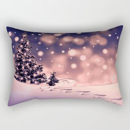 Winter Trees and snow with blue sky background Rectangular Pillow