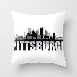 Pittsburgh Silhouette Skyline Throw Pillow