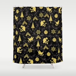 Golden christmas pattern 2 - #christmas #xmas #golden Shower Curtain