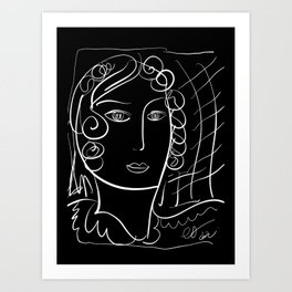 Black and White Minimalist Line Art Portrait of a Woman Art Print
