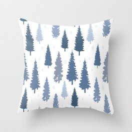 Pines and snowflakes pattern Throw Pillow