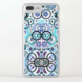 Blue Circles Clear iPhone Case