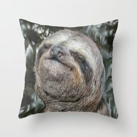 sloth Throw Pillows featuring Sloth by Bruce Stanfield