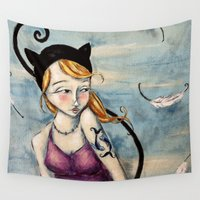 sparrow Wall Tapestries featuring Sparrow by Allison Weeks Thomas
