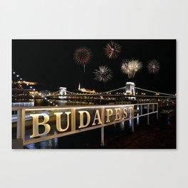 Chain bridge  with fireworks on Budapest city. Canvas Print
