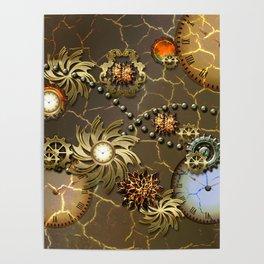 Steampunk golden design Poster