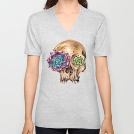 Blooming skull Unisex V-Neck