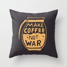 Make Coffee Not War Throw Pillow
