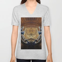Abstract  in Earth Tones Unisex V-Neck