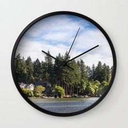 Homes along the shore of Lake Oswego, OR Wall Clock
