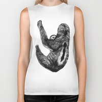 sloths Biker Tanks featuring Family of  three-toed sloths by Sega-l