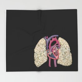 Fetal Heart with Baby's Breath Lungs Throw Blanket