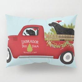 Black lab dog labrador christmas tree farm vintage red truck Pillow Sham